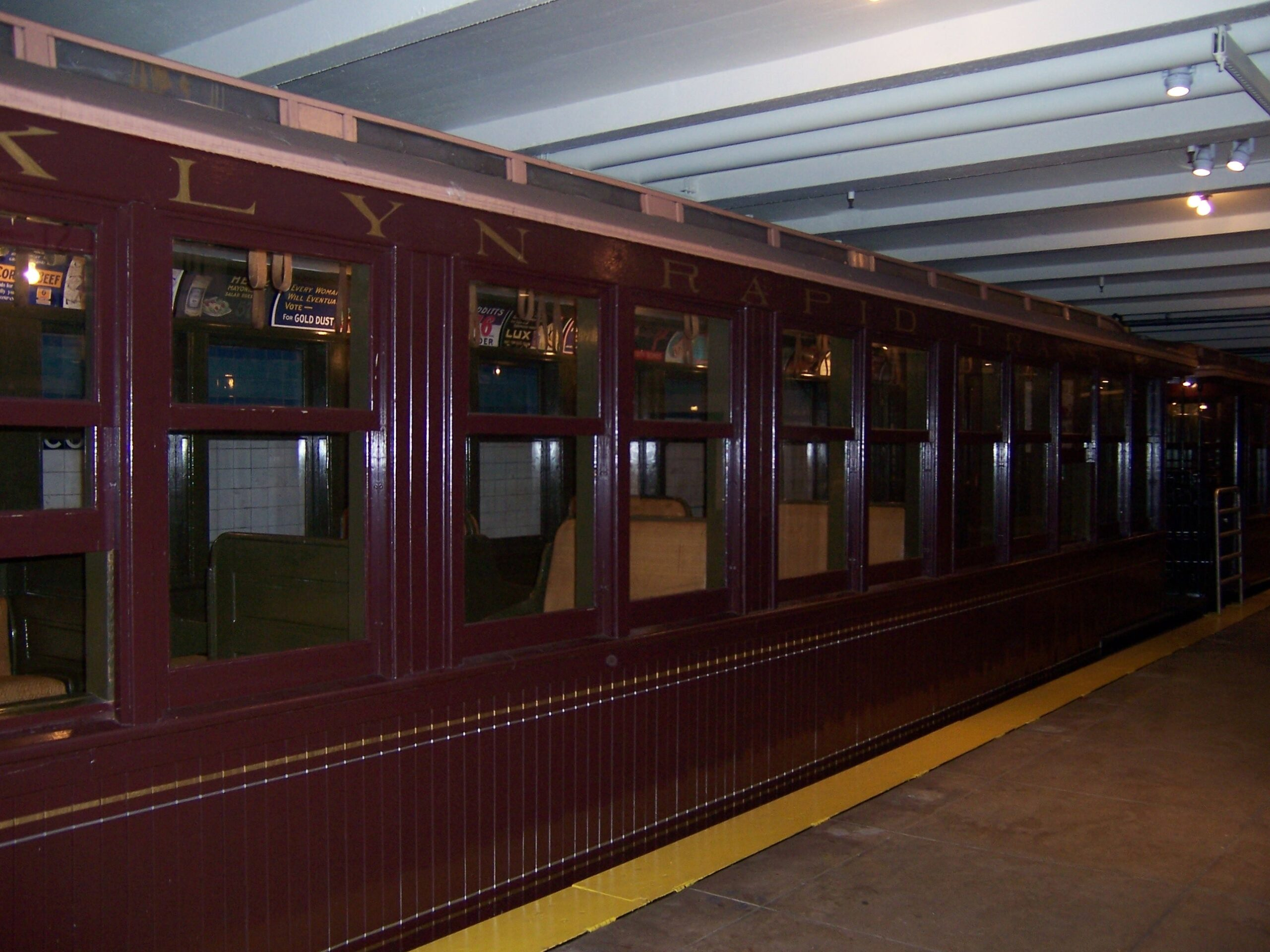 Wooden rail car in the New York Transit Museum in Brooklyn, NY