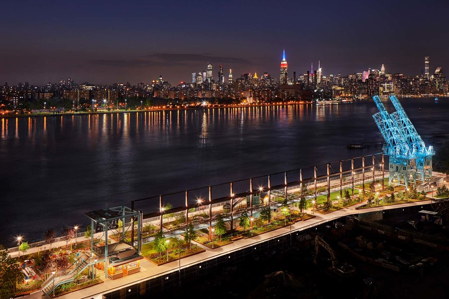 Domino Park at Williamsburg Waterfront in Brooklyn, NY