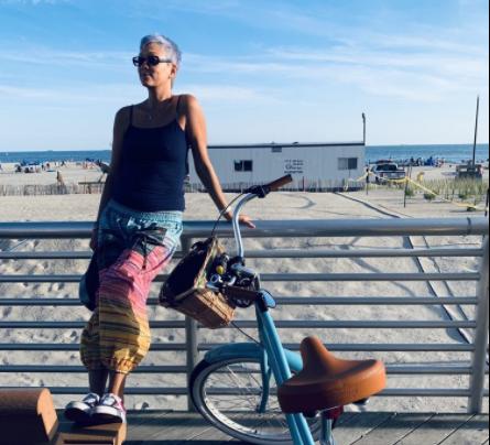 Biking at the boardwalk of Long Beach, NY